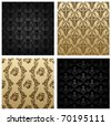 Raster vintage seamless background brown black baroque Pattern. Vector copy search in my portfolio - stock photo