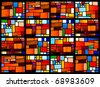 Stained glass window pattern with a amber tone - stock photo