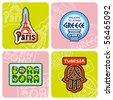 Travel stickers set - stock photo