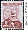 UNITED STATES OF AMERICA - CIRCA 1973: a stamp printed in USA shows Frederick Douglass, leader of the abolitionist movement, circa 1973 - stock photo