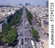 View from Arc de Trioumphe north to La Defense commercial area. Paris. France - stock photo