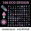 100 eco design signs. vector - stock vector