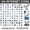 100 internet icons set, vector - stock vector