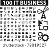 100 it & business icons, vector - stock vector
