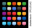 25 simple mapping pins web 2.0 buttons. Colored square shapes with reflection on black background. - stock vector