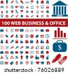 100 web business & office icons, vector - stock vector