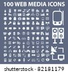 100 web media icons, signs, vector illustrations - stock vector
