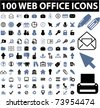 100 web office icons, vector - stock vector