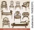 "A collection of chairs - vintage engraved illustration - ""L'industrie et l'art décoratif aux deux derniers siècles"" ed. Firmin-Didot - Paris - stock vector"