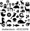 A set of black and white silhouette of birds, animals and flowers - stock vector