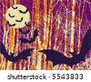A vector illustration of Halloween bats with a full moon and grunge background. - stock vector