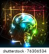 abstract human brain background design - stock vector