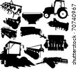 Agricultural Machinery collection - vector - stock vector