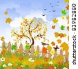 autumn landscape with a fence - stock vector