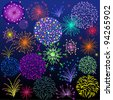 Bright fireworks against a dark background. - stock vector