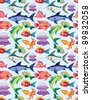 cartoon aquatic animal seamless pattern - stock vector