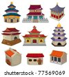 cartoon Chinese house icon set - stock vector