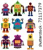 cartoon color robot  icon - stock vector