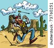 Cartoon cowboy running from indian arrows. He is in the desert there is a cactus behind him - stock vector