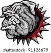 Cartoon Vector Image of a Bulldog Mascot Head - stock vector
