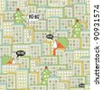 Christmas city seamless pattern. Vector illustration with Santa. - stock vector