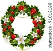 Christmas green and red embellishment with  the decorative garland - stock vector