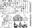 Christmas set of black sketch. Part 103-38. Isolated groups and layers. - stock vector