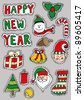Christmas Sticker Set - stock vector