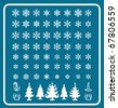 Christmas Themes; snowflakes and christmas tree; new year; winter Vector Set; shape - stock vector