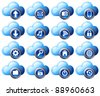 Cloud Computing icons virtual cloud digital media storage - stock vector