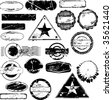 Collection of empty rubber stamps for your text. See other rubber stamp collections in my portfolio. - stock vector