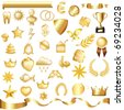 Collection Of Gold Elements, Isolated On White Background, Vector Illustration - stock vector