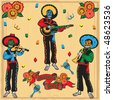 Colorful Day of the Dead Mariachi Band with banner and flowers on a faded wood background - stock vector