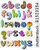 Colorful patterned lower case alphabet set - stock vector