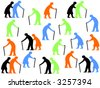 colorful silhouettes of Elderly people walking with sticks - stock vector