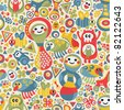Cute monsters seamless texture. Vector colorful pattern for you background. - stock vector