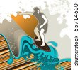 Designed surfing banner with abstract graphic elements. Vector illustration. - stock vector