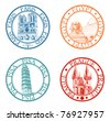 Detailed travel stamps collection: Pisa, Paris, Prague, Egypt - stock vector