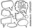 Doodle style cartoon conversation, speech, or thought bubbles in vector illustration format - stock vector