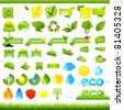 Eco Set, Isolated On White Background, Vector Illustration - stock vector