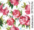 Elegance Seamless color peony pattern on white background, vector illustration - stock vector