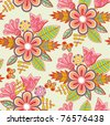 floral seamless pattern, endless texture with flowers - stock vector