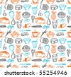 Food seamless doodles pattern. Vector illustration. - stock vector