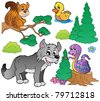 Forest cartoon animals set 2 - vector illustration. - stock vector