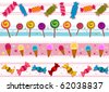 Four Border Designs of Candies and other Sweets - Vector - stock vector