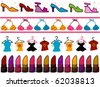 Four Border Designs of  Fashion-related Items for Girls - Vector - stock vector