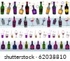 Four Border Designs of Various Drinks; Shakers and Glasses - Vector - stock vector