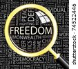 FREEDOM. Magnifying glass over background with different association terms. Vector illustration. - stock vector