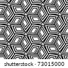 Geometric black and white seamless pattern. 3d boxes repeat background. - stock vector