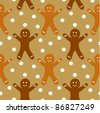 Gingerbread man seamless pattern - stock vector